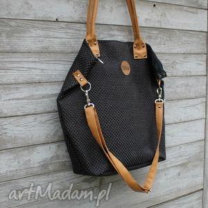 handmade na ramię torba worek plecionka czarna # camel