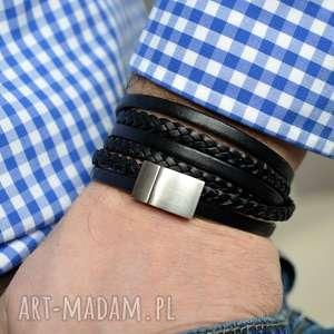 hand made męska bransoletka skórzana magnetoos satin steel black