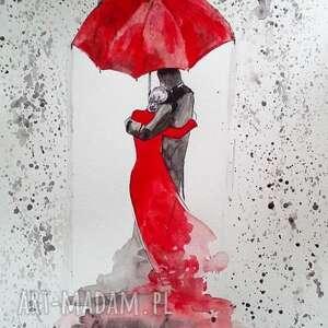 pod parasolem akwarela artystki plastyka adriany laube - para, zakochani, deszcz
