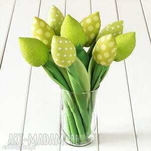 Prezent TULIPANY zielony bawełniany bukiet, tulipany, kwiaty, prezent