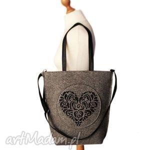 shopper bag szare serce - xxl, duza, filcowa, rozeta, filc, eko