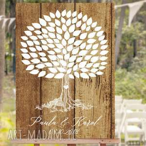 obraz na płótnie 50x70 cm - drzewo wpisów rustykalne, ślub, wesele