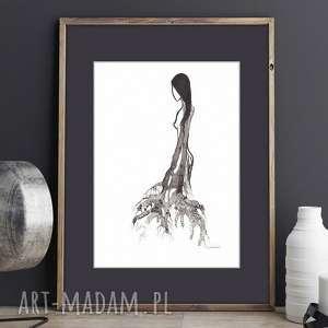 obrazy ręcznie wykonany, małe obrazy czarno-białe, cykl woman, akwarela