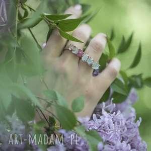 ręcznie zrobione pierścionki 925 /18k różowo pozł. Pierścionek akwamaryn rubin kryształ górski