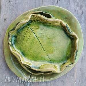 ceramiczny komplet 3 talerzyków c96, cetamiczny, paproć, paprotka