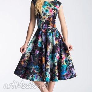 Sukienka SCARLETT Midi Azalia, plecy, rozkloszowana, koło, kwiaty, midi, wielobarwna