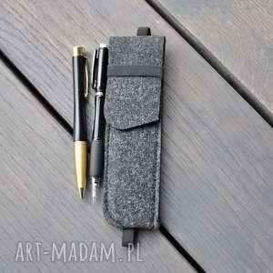 handmade etui etui na długopisy z gumką na notes a5 - grafitowe