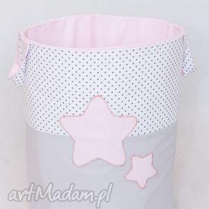 cosybaboo kosz na zabawki słodkie sny - róż, pojemnik, gwiazdy, gwiazdki, bawełniany