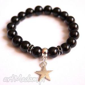 bransoletki bransoleta black star, gwiazdka, gwiazda, zawieszka, charms, cyrkonie