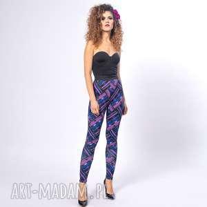 legginsy z drukiem - violet mix, elastyczne, wygodne, krata