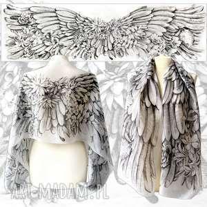 Ręcznie rysowany szal jedwabny Anielskie Skrzydła - niepowtarzalny unikat, skrzydła