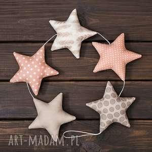 beżowo-brzoskwiniowa girlanda, 5 gwiazdek, gwiazdka, dekoracja, zawieszka