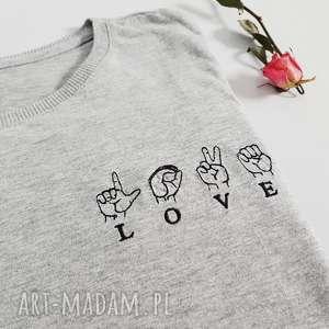 koszulka z haftem love - ,koszulka,haft,haftowana,bawełniana,oversize,luźna,