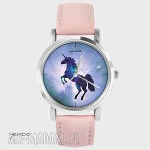 zegarek, bransoletka - jednorożec, unicorn pudrowy róż, skórzany, zegarek
