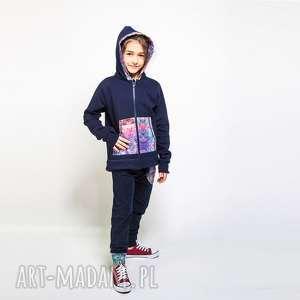 komplet bluza i spodnie mosaic 110-134 cm, dresowy, granatowy dres, dres