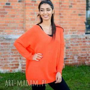 damski sweter oversize, jesienny, luźny, szeroki, pomarańczowy sweterek