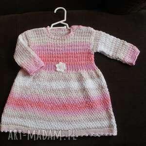 sukienka różowa fantazja, rekodzieło, na drutach, sukienka, niemowlę