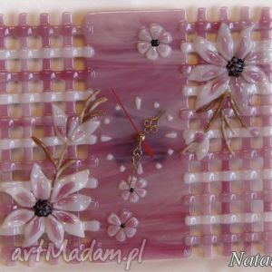 ręcznie zrobione zegary artystyczna kompozycja ze szkła - zegar różowa kratka
