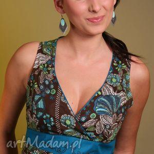bluzki wzorzysty top z szarfą, top, bawełna, jedwab, wzór, haft, wiązanie