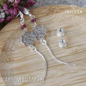 kolczyki srebrne rozety z rubinem