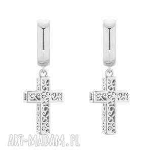 srebrne kolczyki z krzyżami, krzyż, rock, rockowe, masywne, ażurowe, silver