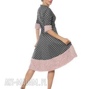 Elegancka sukienka Karenina Vintage Rose, jesień, elegancka, pepitka, groszek