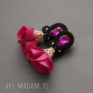 klipsy sutasz z kwiatkiem, sznurek, eleganckie, kwiat, fuksja, wiszące