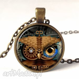 steampunk owa sowa - medalion z łańcuszkiem - mechaniczna, prezent