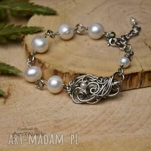 ręczne wykonanie bransoletka z perłami, perły, wire wrapping, stal