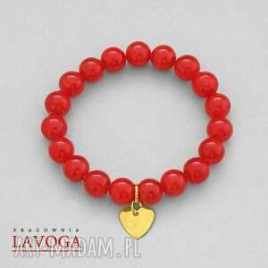 lavoga jade with pendant in coral - czerwone bransoletki, jadeit, serce