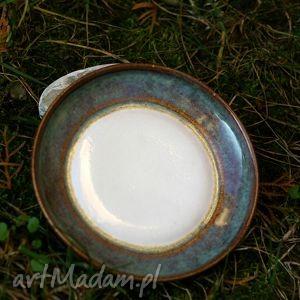 ceramika talerzyk biało-brązowo-szary, ceramika, talerzyk, glina, szkliwo