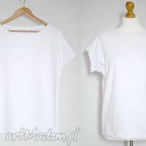 Gładka koszulka bawełniana oversize biała S/M, bluzak, bawełna