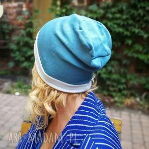 czapka damska niebieska sportowa, czapka, etno, sport, boho, dzianina, rower