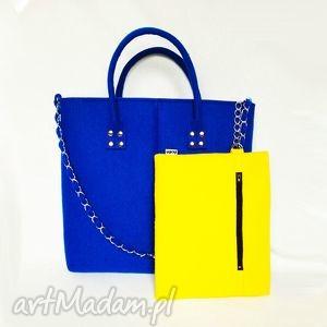 ręcznie wykonane do ręki glamfelt - torba do ręki 2w1 kobaltowo żółta