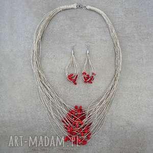 koral i len komplet biżuterii, koral, prezent, kobiecy, len, lniany, naturalny