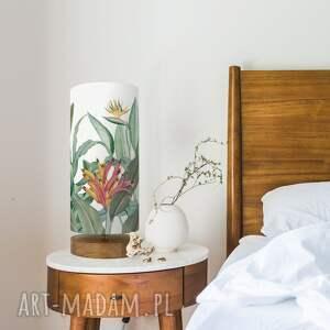 lampa dekoracyjna z abażurem tropikalna, stołowa, dekoracyjna