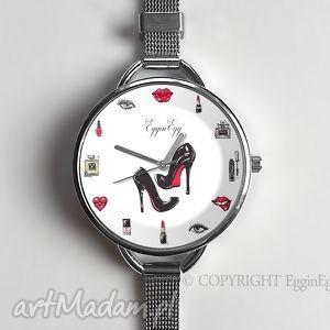Prezent Kobiecość - Zegarek z dużą tarczką , zegarek, szpilki, szminka, kobiecy