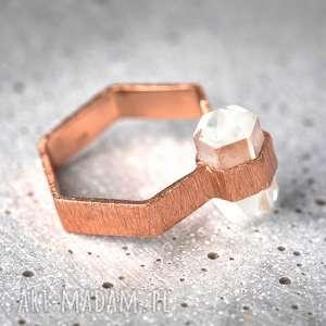 925 /18k Różowo pozł. pierścionek Kryształ górski, kamień, kryształ, minerał