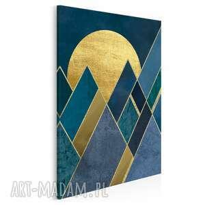 Obraz na płótnie - trójkąty noc granat złoto w pionie 50x70 cm