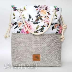 Torebka worek kwiaty ptaki rączki ze sznurka , kolorowa, kwiaty, letnia, wakacyjna