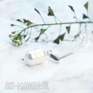 Srebrny naszyjnik z perłą naszyjniki silvella naszyjnik, srebrny