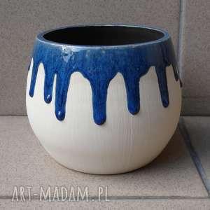 Wazon ze ściekającym szkliwem 2, wazon, misa, ceramika, glina, rękodzieło