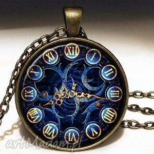 ręcznie robione naszyjniki foto zegar - medalion z łańcuszkiem