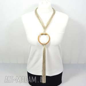 pmpb style naturalny naszyjnik ze sznurka z chwostem, lnu, lniany