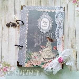 hand made scrapbooking notesy pamiętnik/ sekretnik / bicycle magic