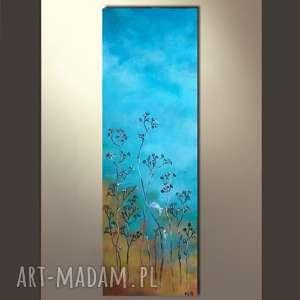 TURKUSOWA ŁĄKA - obraz akrylowy formatu 20/60 cm, abstrakcja, trawy,