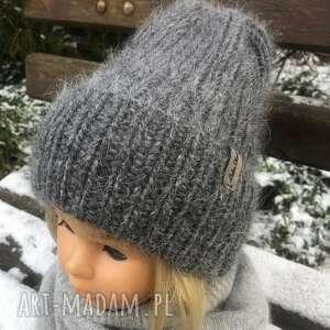 czapka z podwinięciem, na drutach, ciepła czapka, zimowa