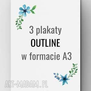 3 plakaty OUTLINE A3, grafika, plakat, outline, lowpoly, design, poster