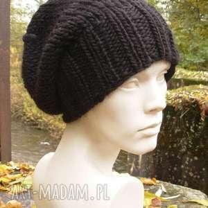 handmade czapki 100% wool unisex klasyk czarna zimowa czapa
