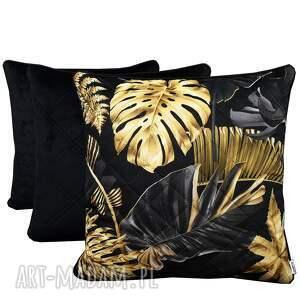 komplet 3 poduszek złote liście pikowane i czerń 45x45cm